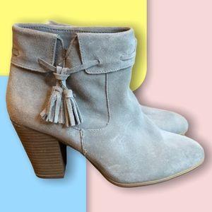 Grey Plume Tasseled heel booties